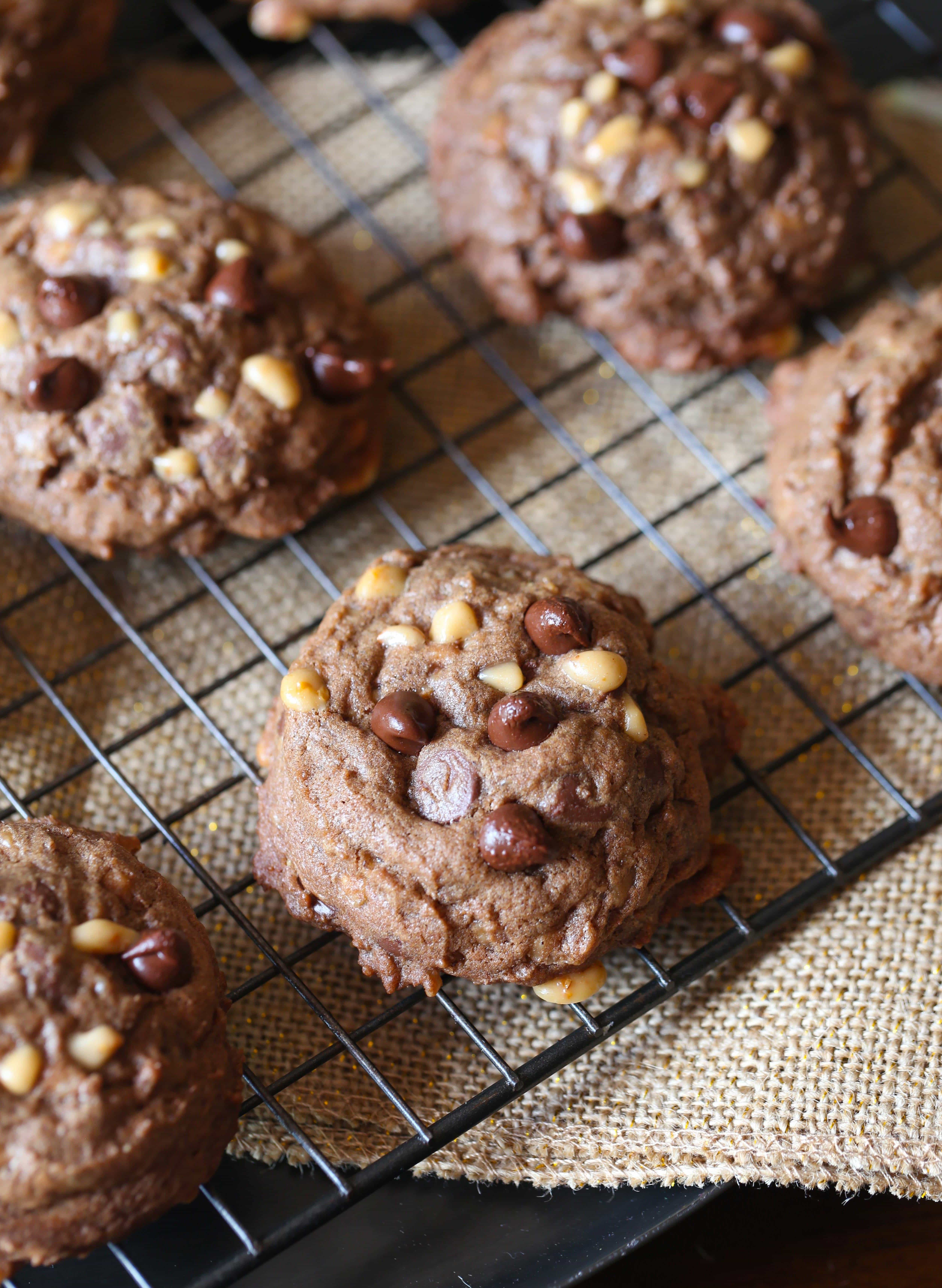 These Chocolate Toffee Cookies are thick, chocolaty and full of chocolate chips and toffee bits! The inside texture is like a brownie! So GOOD!