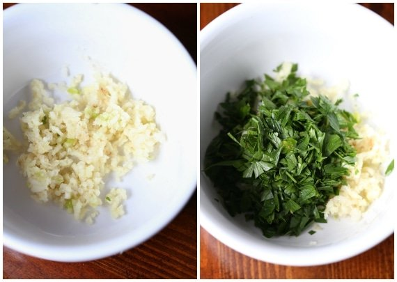 Bowls with minced garlic and parsley