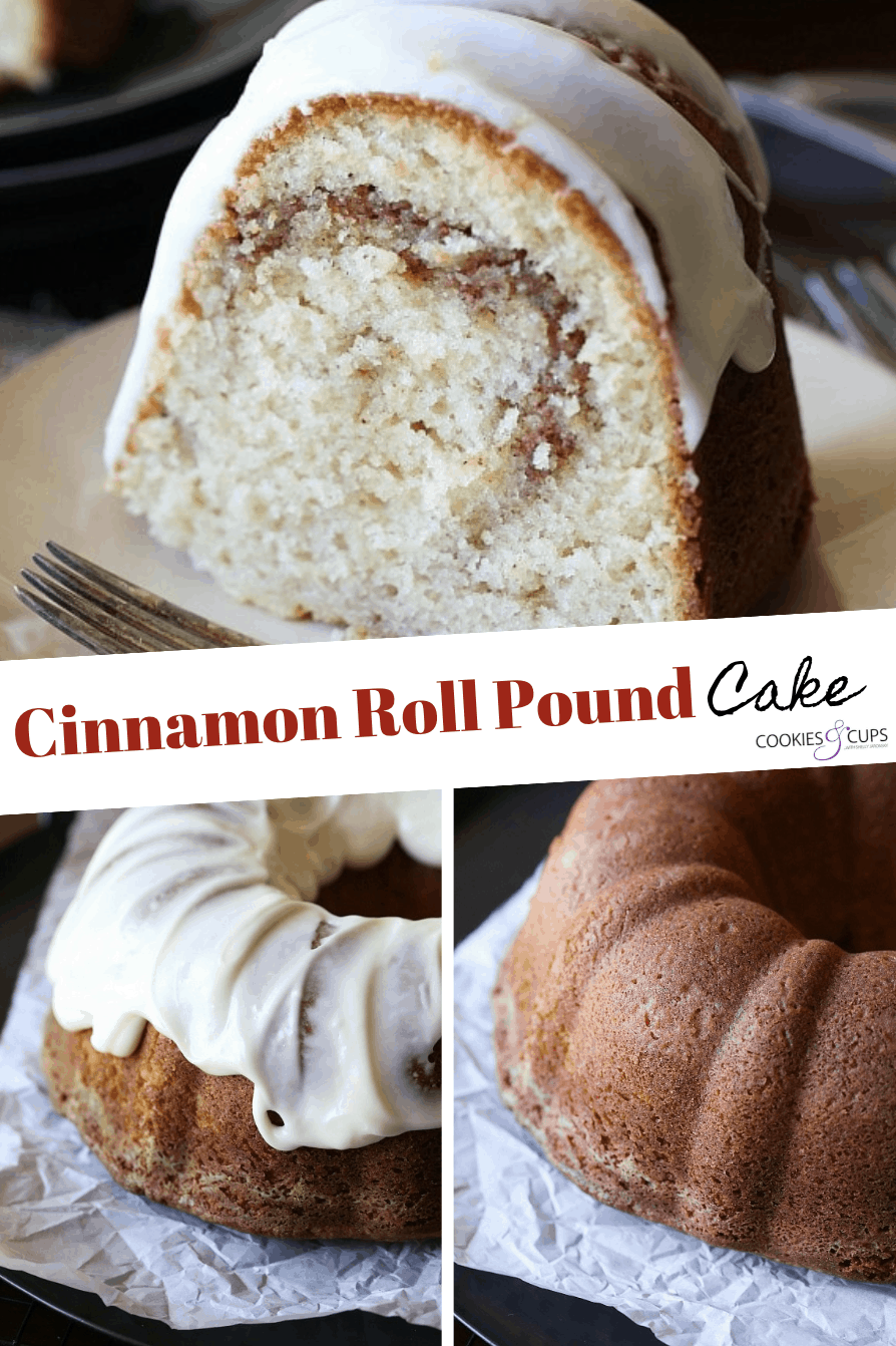 Pinterest Image for Cinnamon Roll Pound Cake