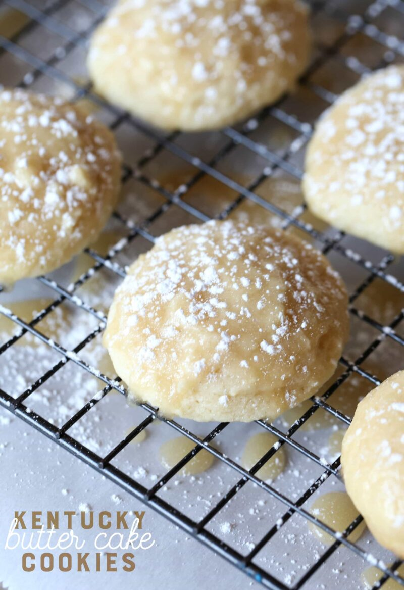 These Kentucky Butter Cake Cookies are a fun spin on my SUPER popular recipe for Kentucky Butter Cake. They're soft, buttery, glazed and just like little bites of delicious cake!