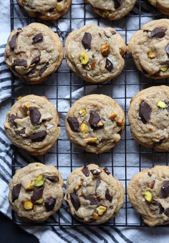 Chocolate Chunk Pistachio Cookies...browned butter, dark chocolate ...