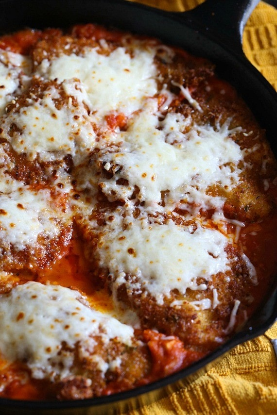 Skillet Chicken Parmesan...easy and great for an everyday dinner or dinner party!