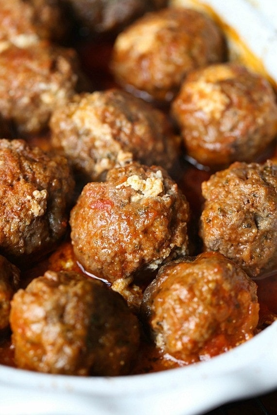 to share the recipe for these super cheesy Ricotta Stuffed Meatballs ...