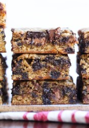 Congo bars cut and stacked with milk and semi sweet chocolate