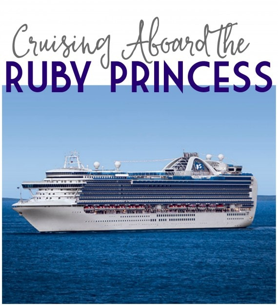 The Ruby Princess cruise ship sailing over the open ocean with text hovering above it