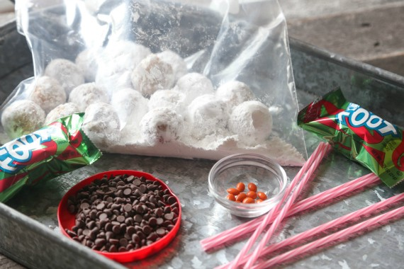 All the supplies you need to assemble the donut hole snowmen!