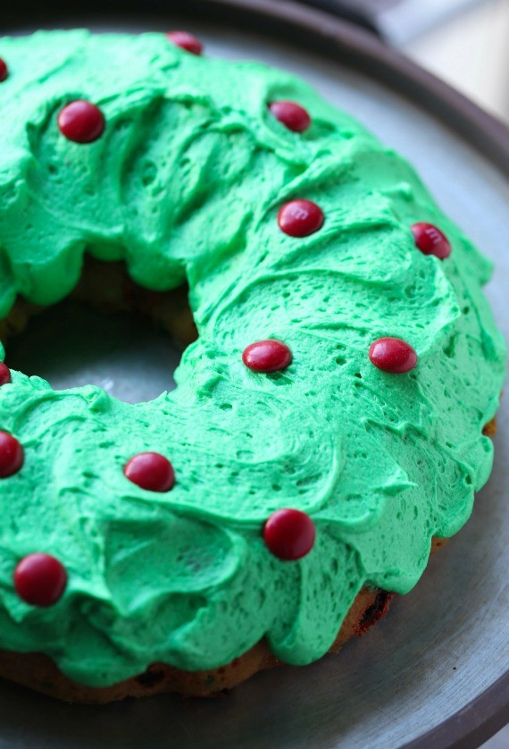 Top your green frosted Bundt Cake with Red M&M'S for a festive wreath.