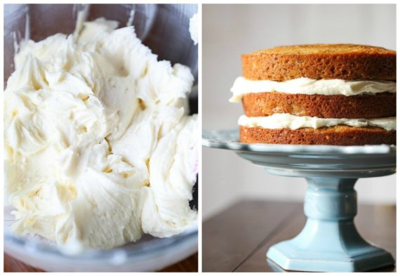 Fluffy cream cheese frosting on the best banana cake recipe
