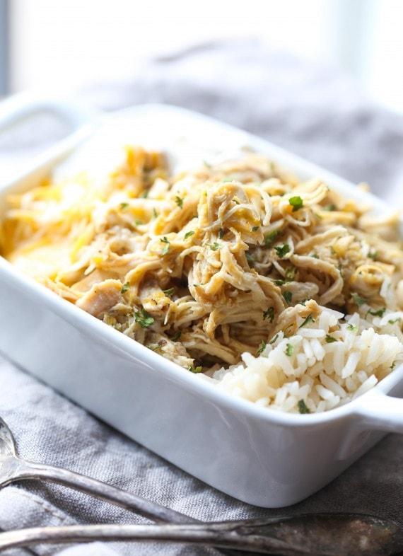 Salsa Verde Chicken served over rice