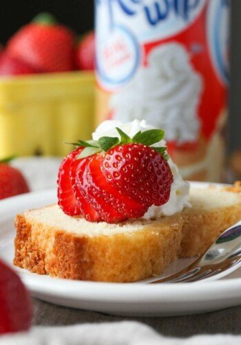 This tender and dense pound cake is made with whipped cream right in the batter!