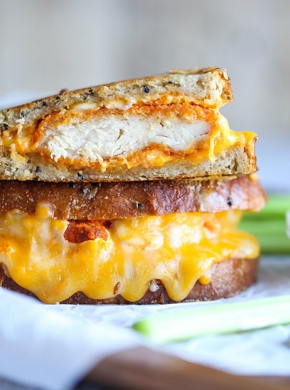 Epic Buffalo Chicken Grilled Cheese Sandwich!