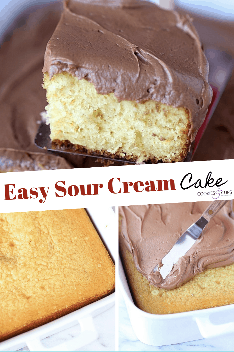 Pinterest Image for easy sour cream cake