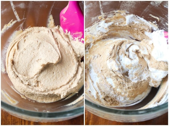 A Collage of Two Images of Mixing the Cookie Butter Pie Filling in a Glass Bowl