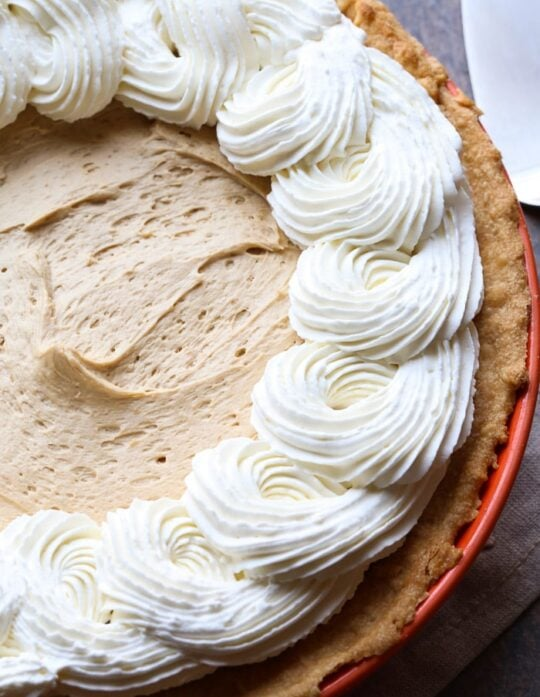 Cookie Butter Pie with a flaky cream cheese pastry crust! So rich and delicious!