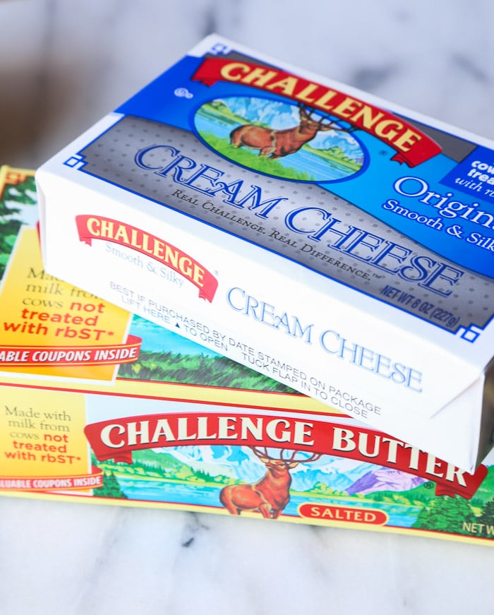 A Box of Cream Cheese on Top of a Box of Salted Butter