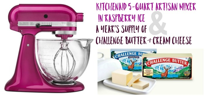 A Pink Kitchen Aid Mixer Beside an Image of Two Tubs of Challenge Butter