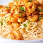 Skinny Bang Bang Shrimp Pasta recipe is a healthy easy shrimp recipe!