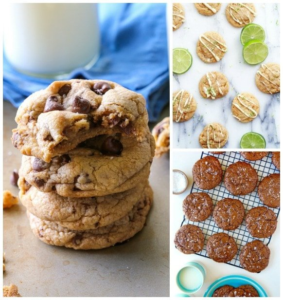 A Stack of Chocolate Chip Cookies Next to a Counter Full of Key Lime Pie Cookies and a Cooling Rack Holding Flourless Chocolate Cookies
