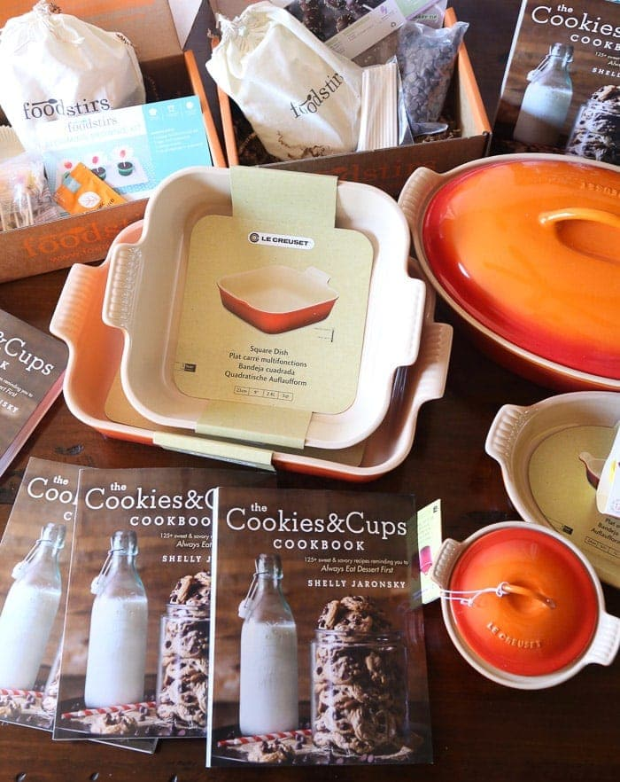 Cookbooks, Boxes of Food and the Rest of the Giveaway Prizes on a Tabletop