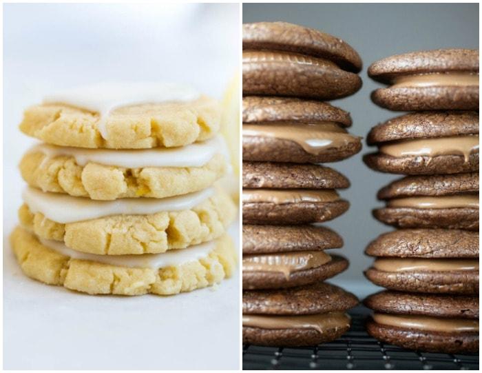 A Stack of Lemon Cookies Beside Two Stacks of Peanut Butter Cup Brownie Cookies