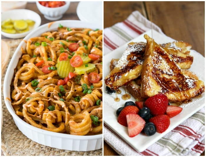 A Collage of an Image of a Cheeseburger Casserole and an Image of Ice Cream Soaked French Toast