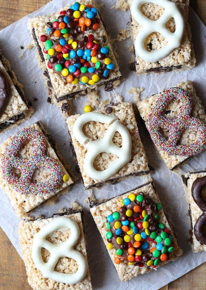 These Trashy Treats are OUTRAGEOUS! You have a cookie dough, Oreo stuffed krispie treat topped with chocolate covered pretzels. A literal mouthful!