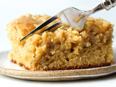 Brown Sugar Crumb Cake with a fork taking a bite