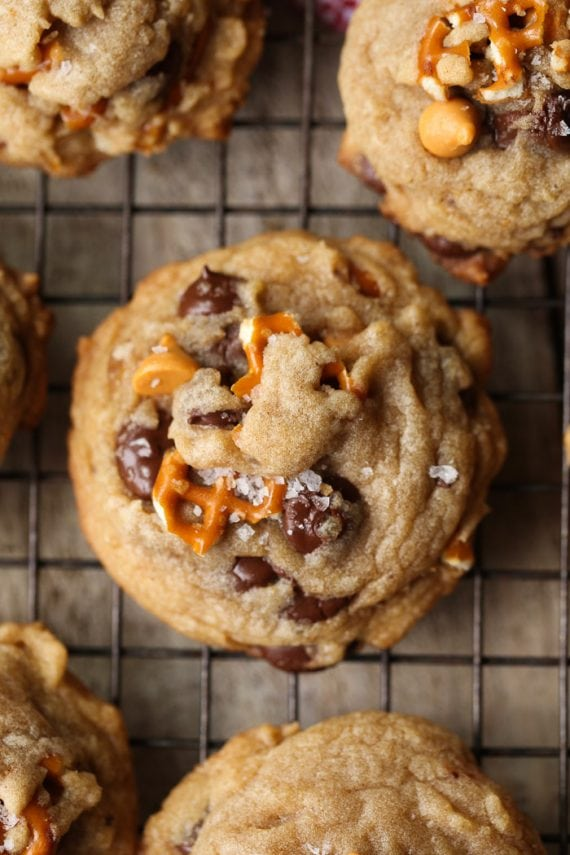 Sea Salt Butterscotch Pretzel Cookies are my new salty/sweet obsession! Browned Butter adds depth to the flavor while the butterscotch and chocolate chips keep things perfectly sweet!