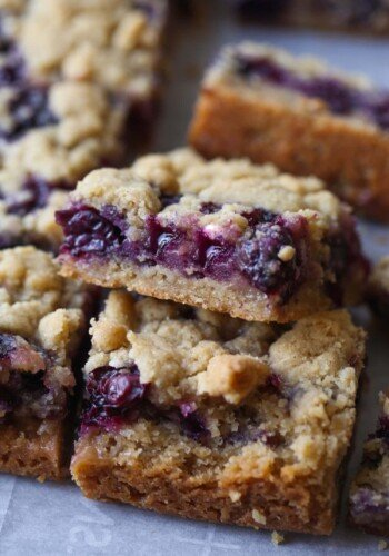 Blueberry Crumb Bars cut and stacked