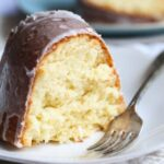 Slice of Coconut Cream Cheese Pound Cake With Fork
