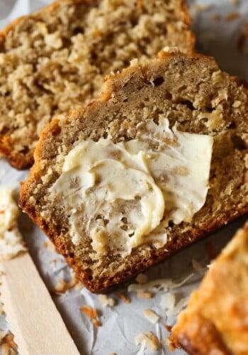 Toasted Coconut Banana Bread is a moist, soft banana bread recipe