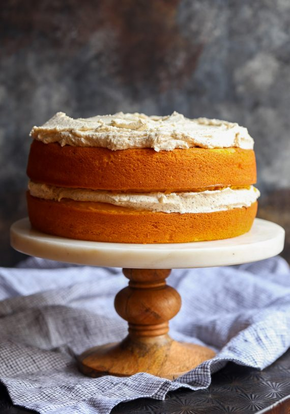 Perfect Pumpkin Cake with Browned Butter Maple Frosting. This cake starts with a cake mix and SO light and fluffy. And the frosting is simply outrageous!