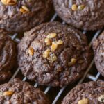 Chocolate Crunch Cookies are thick, brownie-like cookies loaded with caramelized krispies and chopped Crunch Bars!