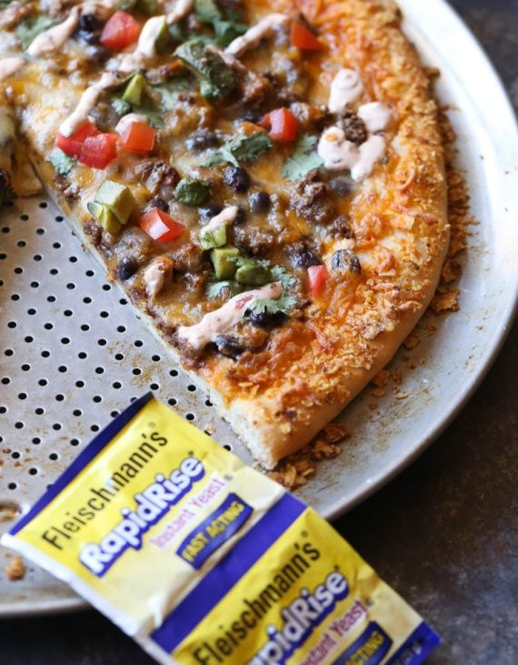 FAST Taco Pizza with Chipotle Cream Sauce.