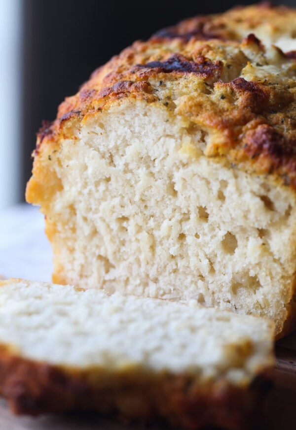 Ranch Beer Bread.. so quick and easy with a crunchy buttery crust flavored with ranch seasoning!