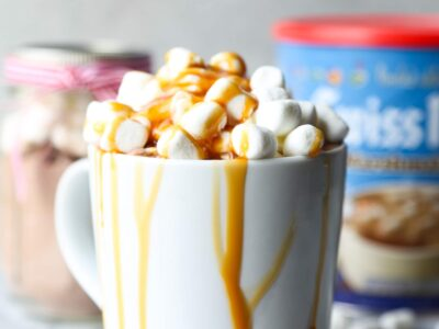Dress up your hot chocolate with extra marshmallows, caramel sauce and flaked sea salt!