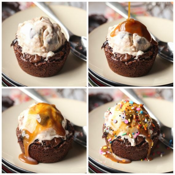 Easy Brownie Bowl Sundaes! The brownie is the perfect bowl for you favorite ice cream and toppings!