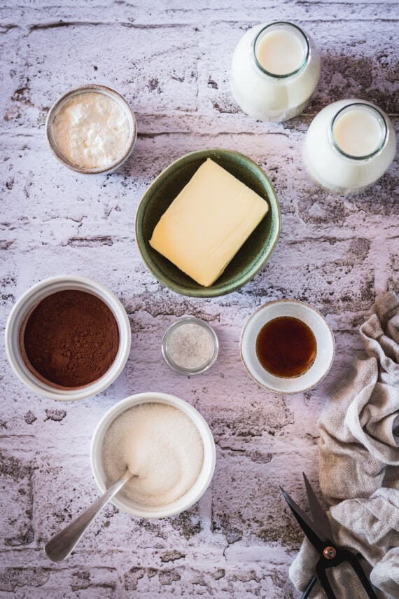 Ingredients for easy chocolate pudding.