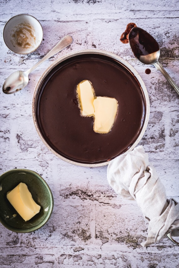 Chocolate pudding with butter in it.