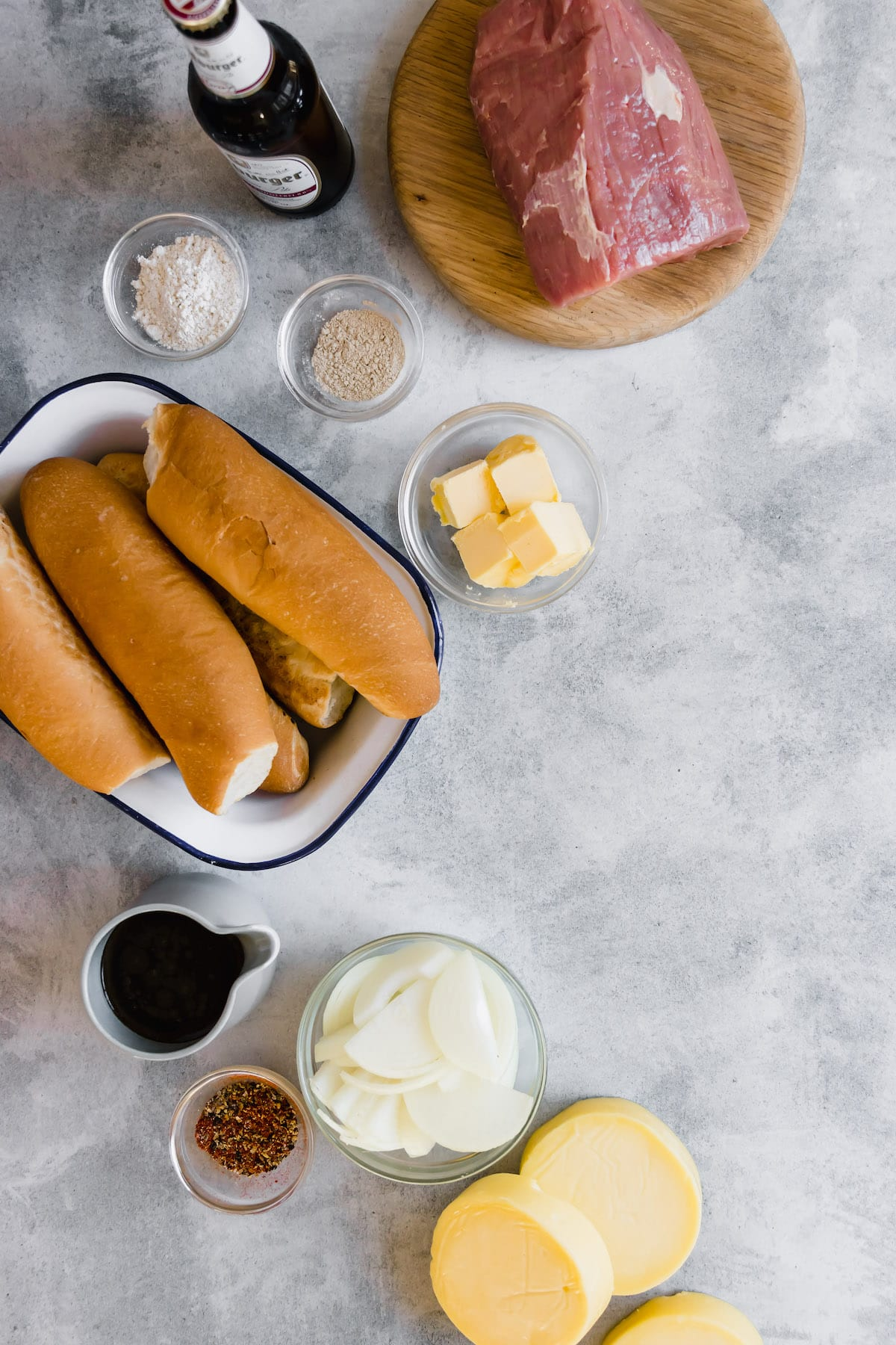 Ingredients for slow cooker French dip sandwiches.