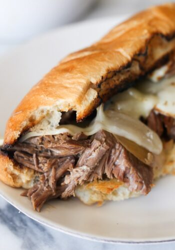 Slow Cooker French Dip Sandwich! So easy, always a family favorite and packed with flavor!