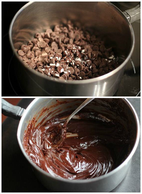 Chocolate chips in a pan before and after melting