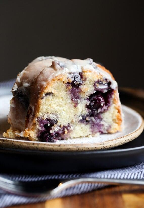 A slice of Blueberry Bundt Cake on a plate
