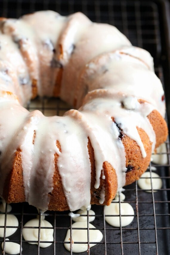 Blueberry Bundt Cake with icing drizzled on top