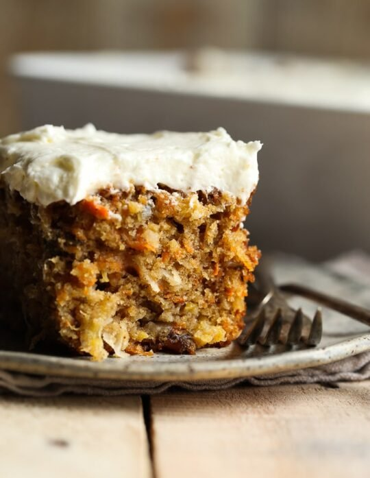 Perfect Carrot Cake is so moist and topped with cream cheese frosting