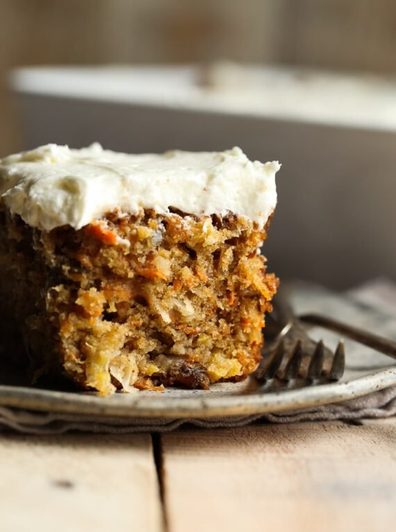 The Best Carrot Cake is so moist and topped with cream cheese frosting