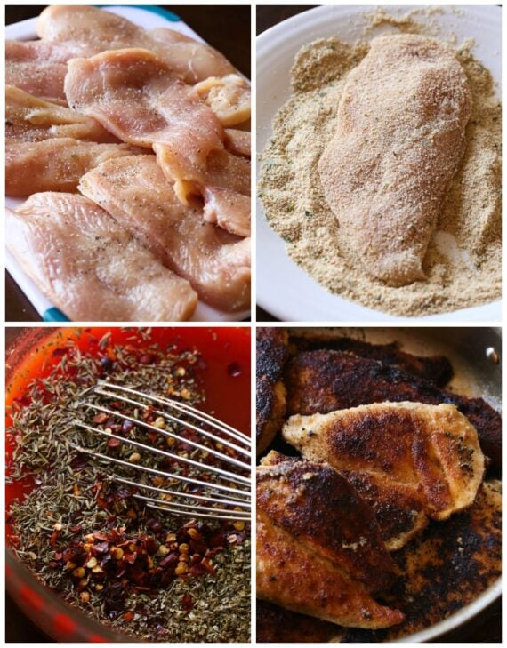 how to make chicken in a skillet collage