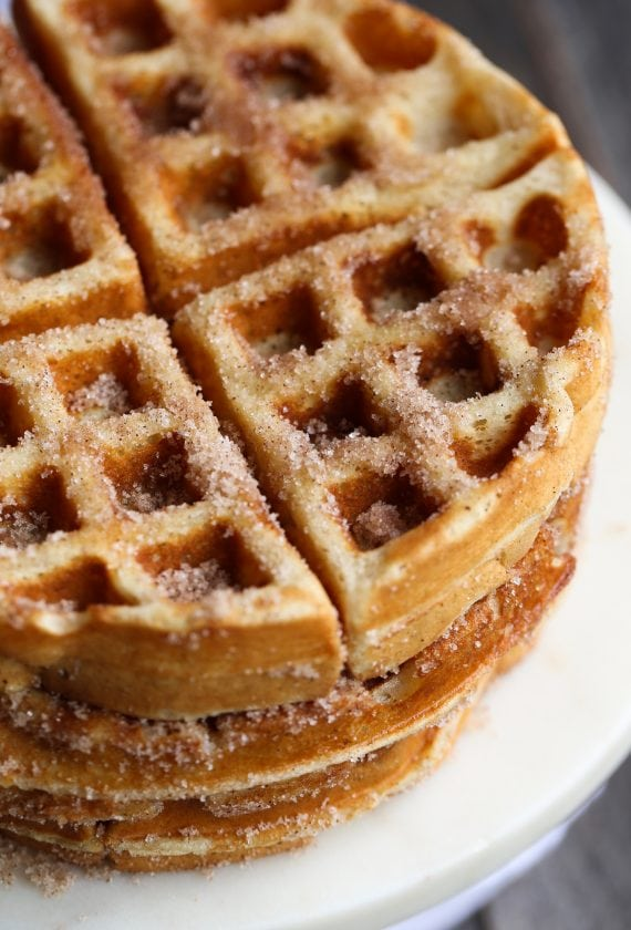 Churro Waffles made with Rapid Rise yeast! These are out of control...you can make the batter the night before and be ready to have waffles in the morning!