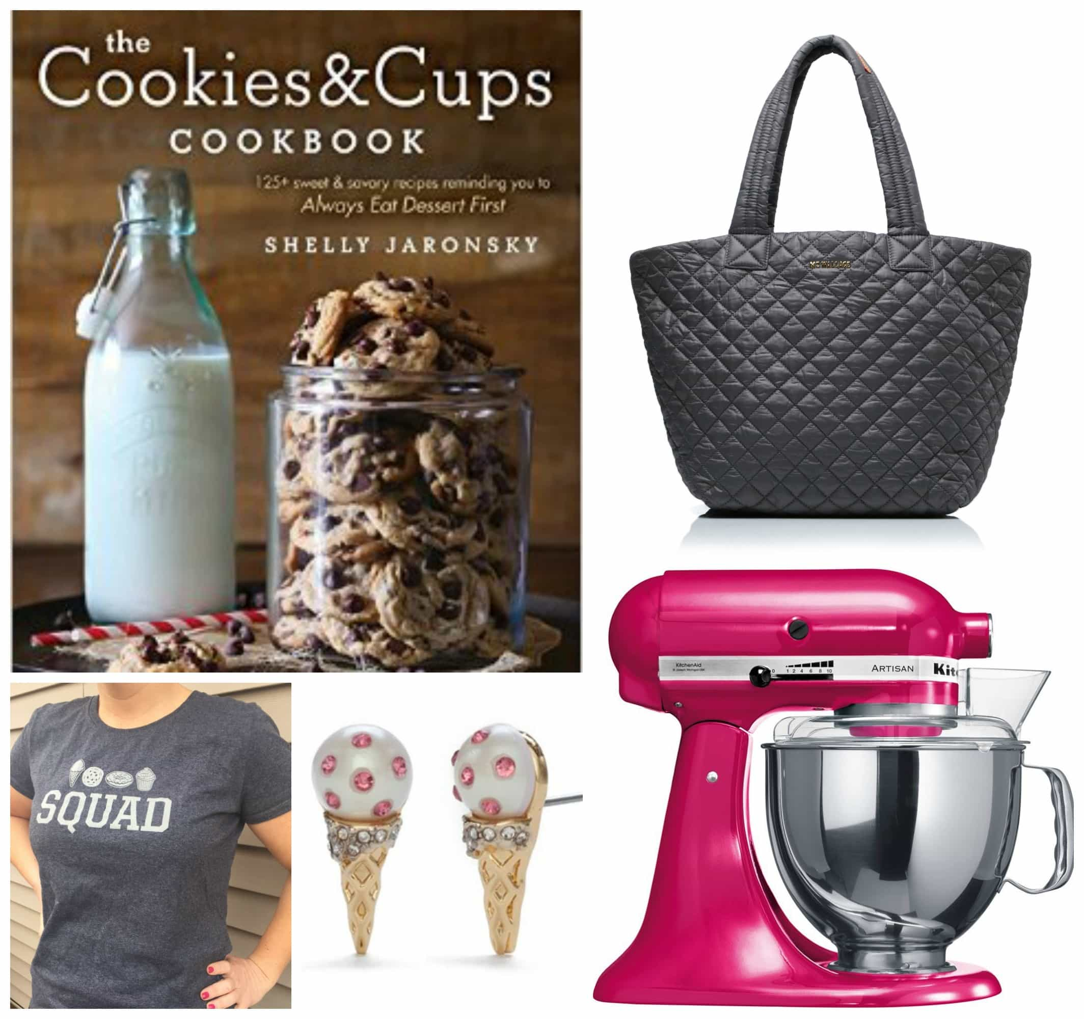 A Collage of Images of my Cookbook, a Purse, a Blender, a T-Shirt and a Pair of Ice Cream Cone Earrings