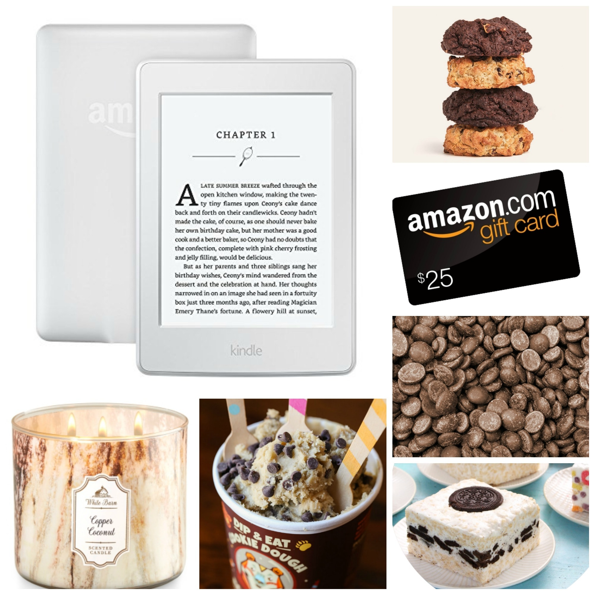 A Collage of Pictures of an iPad, an Amazon Gift Card and Various Desserts